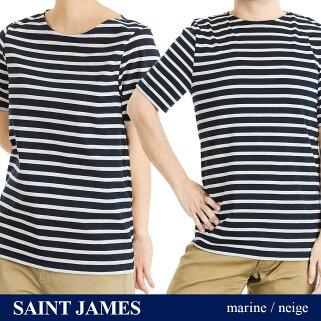 セントジェームスSAINTJAMESLEVANTユニセックストップスTシャツ-半袖ボーダーレバントブランドティーシャツシャツカットソーカジュアル