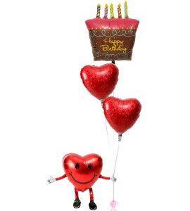 【土日祝・正月営業】誕生日 バルーン ギフト 浮いて届く ヘリウムガス入り 電報 バースデー お祝い パーティー 飾り 付け プレゼント 風船 誕生日ブーケ53 バースデーケーキ 即日 バルーン