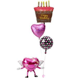 【土日祝・GW営業】誕生日 バルーン ギフト 浮いて届く ヘリウムガス入り 電報 バースデー お祝い パーティー 飾り 付け プレゼント 風船 誕生日ブーケ54 バースデーケーキ 即日 バルーンア