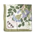 エルメススカーフシルク100%ボタニカル花フラワー植物グリーンカーキ緑HERMESカレ90ブランド【中古】