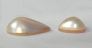マベパール2個ドロップ型ハート型真珠ホワイト系n虹色の艶手芸材料素材ルースハンドメイド天然石手作りアクセサリーパーツジュエリー【中古】
