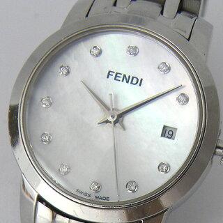 フェンディクラシコ2100LFENDI11Pダイヤホワイトシェル文字盤レディースクォーツ腕時計ブランド【中古】