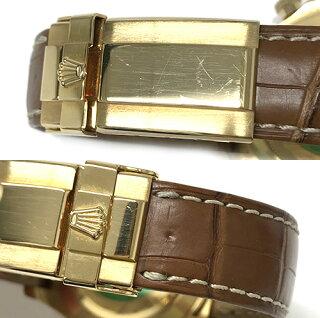 ロレックスデイトナ116518ROLEXK18YGブラック文字盤8Pダイヤブラウンクロコべルト腕時計メンズD番自動巻きブランド【中古】