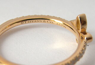 ティファニーフルールドリスバンドリングダイヤモンド8号K18PGローズゴールドピンクゴールドハーフエタニティ指輪Tiffany&Co.ブランドジュエリー【中古】