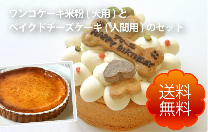 ワンコ(犬用)ケーキ(米粉)とベイクドチーズケーキ(人間用)セット(送料無料) 手作り 無添加 誕生日 一緒に食べられます 犬用 ケーキ 誕生日 プレゼント ごはん ごちそう メッセージ