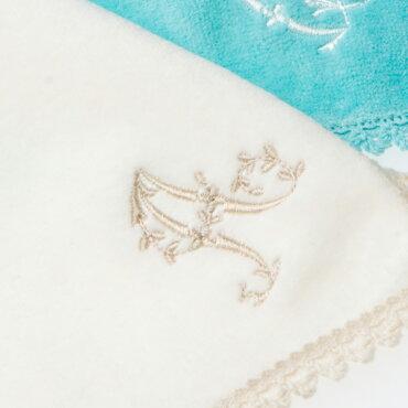 イニシャル刺繍BBレースカラータオルハンカチ