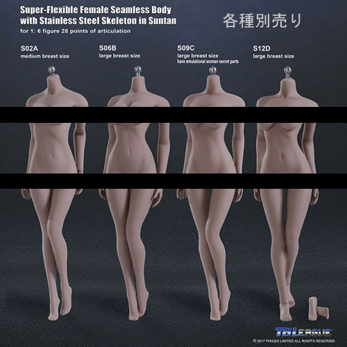 【TBLeague】female seamless body SUNTAN series not head S02A S06B S09C S12D TBリーグ 1/6スケール シームレス女性ボディ サンタン(ヘッドなし)