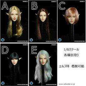【SUPERDUCK】SDH021 A B C D E 1/6スケール 植毛 女性ヘッド
