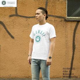 送料無料 OUTLET SALE 50%OFF!! HAWAI'I Tシャツ メンズ レディース HWUS-011 6.2oz ヘビーウエイト ハワイ カレッジ ロゴ オープンエンドTシャツ アメカジ
