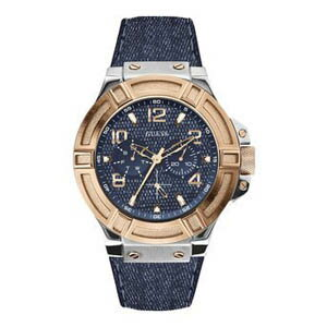 W0040G6 GUESS ゲス デニム 腕時計 RIGOR リガー メンズ 青文字盤 ブルー 青 ピンクゴールドコンビ アナログ ジーンズ ペア プレゼント