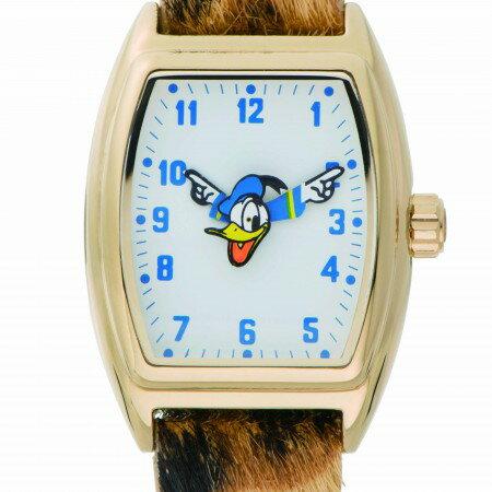 DND-SQUARE10-GD-PAN Disny ディズニー MICKEY ROLLING ローリング ドナルド 革バンド アナログ トノー レオパード レディース腕時計 送料無料 送料込 おしゃれ かわいい