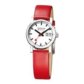 A669.30305.11SBC MONDAINE モンディーン スイス 鉄道時計 エヴォ ビッグデイト レディース ホワイトダイアル レッドレザー レディース 腕時計 国内正規品 送料無料