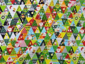 クリスマス 「三角パッチ柄」シーチングプリント 10cm単位カット メール便は3.0m(個数30)まで対応可能