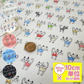 服を着た猫 柄 コットンプリント生地 10cm単位カット メール便は3.0m(個数30)まで対応可能