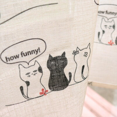 1枚までメール便可猫(ネコ)カフェカーテン巾140×丈60cm1枚/既製品ML1287-60