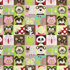 (カーテン生地測り売り)【単価10cm:注文1m以上】(アニマルチェック/BR) フランス直輸入 綿100% パンダやクマ・ライオンなど子供に人気の動物・昆虫たちが勢ぞろいした可愛らしいデザイン 4586001「Stof-ストフ」