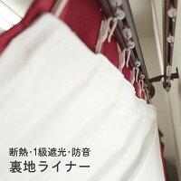【暑さ寒さ対策・防音・1級遮光】高機能カーテン裏地ライナー幅〜100cm-丈80〜120cm2枚組