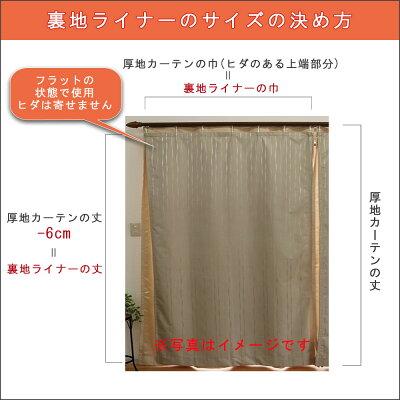 【暑さ寒さ対策防音1級遮光】高機能カーテン裏地ライナー幅〜100cm-丈80〜120cm2枚組