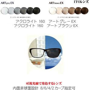 アクロライト160アートグレーEX アクロライト160アートブラウンEX 可視光線調光レンズ ACROLITE160ARTGRAYEX ACROLITE160ARTBROWNEX 内面非球面 単焦点 ITOレンズ