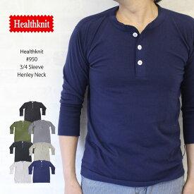 ヘルスニット Healthknit #950 3/4 Sleeve Henley Neck 7分袖 ヘンリーネック Tシャツ【あす楽対応】