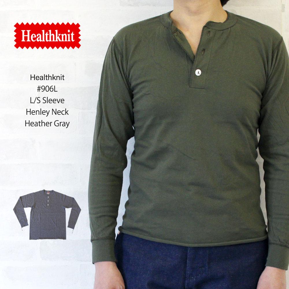 ヘルスニット Healthknit #906L L/S Sleeve Henley Neck 長袖 ヘンリーネック Tシャツ 【ヘザーグレー】/ヘルスニット Healthknit #906L 長袖 ヘンリーネック Tシャツ ヘルスニット Healthknit #906L 長袖 ヘンリーネック Tシャ