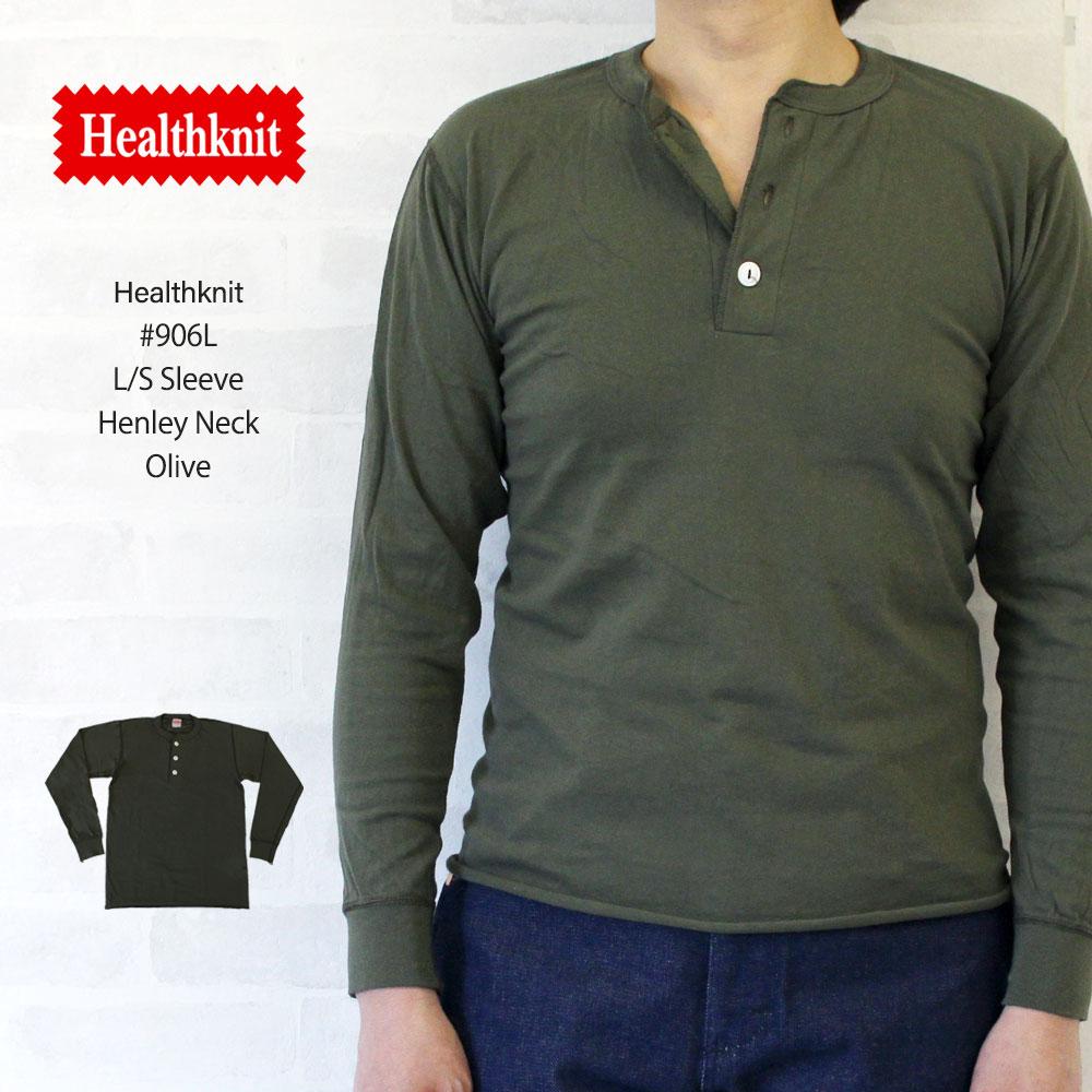 ヘルスニット Healthknit #906L L/S Sleeve Henley Neck 長袖 ヘンリーネック Tシャツ 【オリーブグリーン】/ヘルスニット Healthknit #906L 長袖 ヘンリーネック Tシャツ ヘルスニット Healthknit #906L 長袖 ヘンリーネック Tシャツ