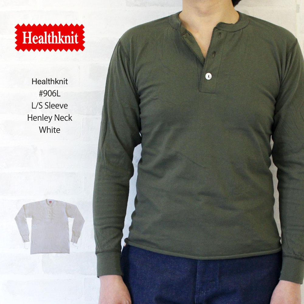 ヘルスニット Healthknit #906L L/S Sleeve Henley Neck 長袖 ヘンリーネック Tシャツ 【ホワイト】/ヘルスニット Healthknit #906L 長袖 ヘンリーネック Tシャツ ヘルスニット Healthknit #906L 長袖 ヘンリーネック Tシャツ
