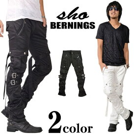 Bernings-Sho/バーニングスショーベルトデザインシャーリングカーゴパンツメンズ スキニーカーゴ スリムカーゴ ボンテージ ワークパンツ アシッドロック ホワイト ブラック XL 大きいサイズ