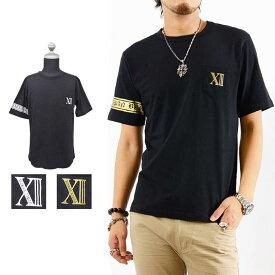 Tシャツ メンズ 胸ポケットサーティーンプリントデザイン半袖Tシャツ BURST JAPAN オラオラ 悪羅悪羅 カジュアル きれいめ キレイメ ロック M L XL ゴールド シルバー