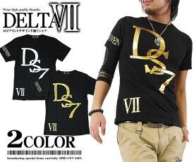DELTA SENVEN Tシャツ メンズ 半袖 メンズ 半袖Tシャツブラック×シルバー ブラック×ゴールド メンズ バイカー 半袖 Tシャツ カットソー