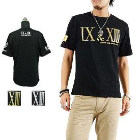 Tシャツ メンズ フロントバックロゴデザインプリント半袖Tシャツ オラオラ カジュアル きれいめ キレイメ ロック M L XL ゴールド シルバー