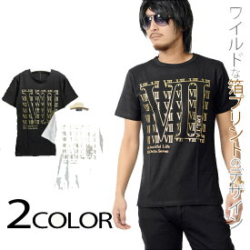 箔プリント半袖Tシャツ メンズ 黒 ブラック シルバー ゴールド ホワイト カジュアル きれいめ キレイメ ロック M L XL DELTA