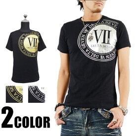 Tシャツ メンズ ティーシャツ 箔プリント半袖Tシャツ 黒 ブラック ホワイト カジュアル きれいめ キレイメ ロック M L XL DELTA