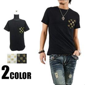 Tシャツ メンズ ティーシャツ 箔プリント半袖Tシャツ メンズ 黒 ブラック シルバー ゴールド カジュアル きれいめ キレイメ ロック M L XL DELTA