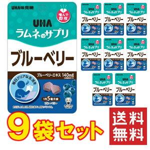 UHA味覚糖 UHAラムネのサプリ ブルーベリー 9袋セット 送料無料