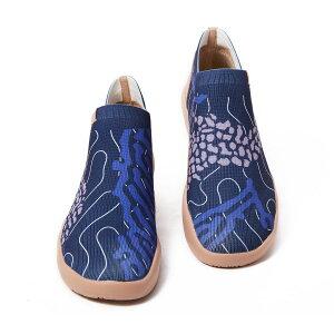 【送料無料】Flowing Deep Blue-UIN ニットアンクルブーツ アートシューズ レディースブーツ メンズ 落書きハイカットスニーカー 男女兼用 カジュアル 軽量ローファースリッポン ファッション小