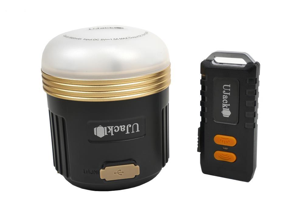 UJack(ユージャック) 充電式 LEDランタン ケース リモコン付 3WAY 560ルーメン 248時間 昼白色 暖色 8段モード切り替え IPX5防水 1m耐衝撃 黒色
