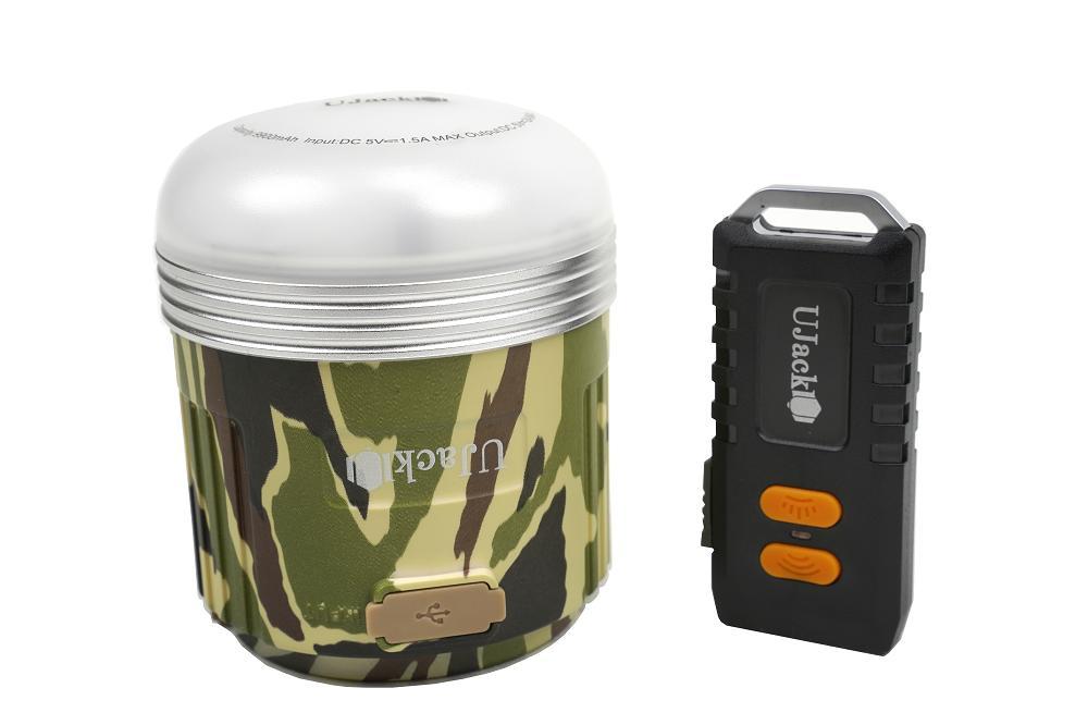 UJack(ユージャック) 充電式 LEDランタン ケース リモコン付 3WAY 560ルーメン 248時間 昼白色 暖色 8段モード切り替え IPX5防水 1m耐衝撃 迷彩柄