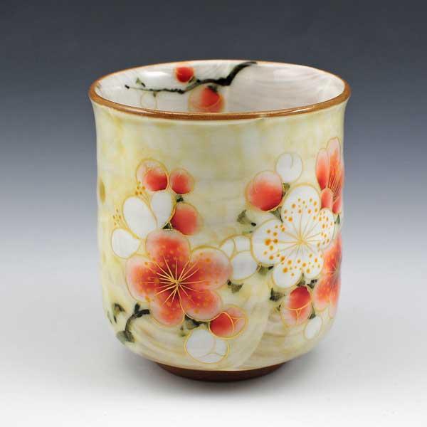 【 送料無料 】 京焼 清水焼 京 焼き 京焼き 花集いシリーズ 一ヶ湯呑 湯飲み茶碗 紅白梅