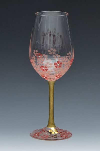 京焼き絵付け ワイングラス(小) ギフト 桜