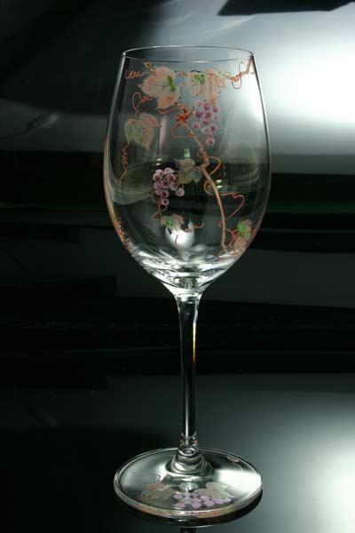 【 送料無料 】 京焼き絵付け クリスタルワイングラス(小) ギフト 葡萄(紫)