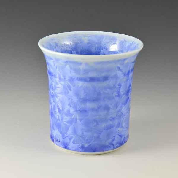 京焼 清水焼 京 焼き 京焼き 酒器 焼酎杯 1客 紙箱入り 花結晶(青) はなけっしょう(あお)