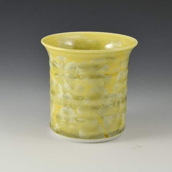 京焼 清水焼 京 焼き 京焼き 酒器 焼酎杯 1客 紙箱入り 花結晶 黄 はなけっしょう(き)