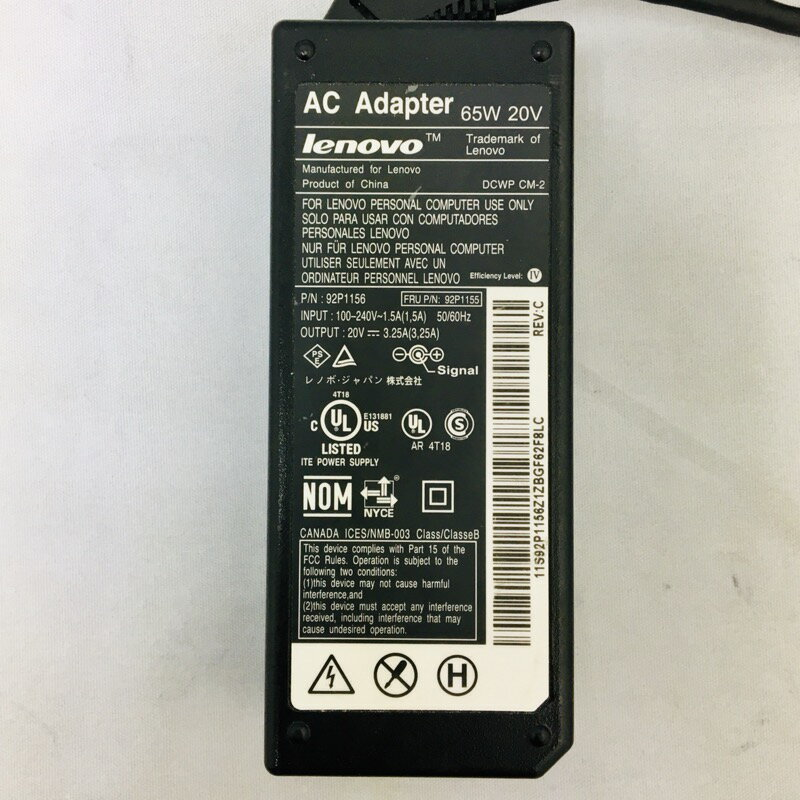 【中古】[ lenovo ] IBM lenovo AC Adapter 電源 アダプター 20V / 3.25A / 65W