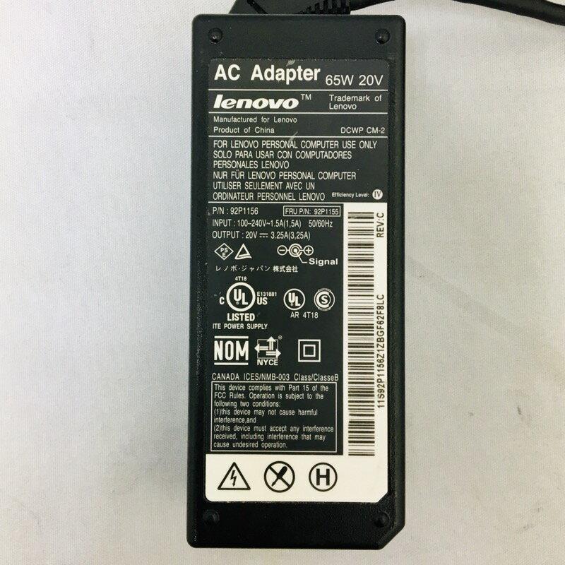 【中古】[ lenovo ] IBM lenovo AC Adapter 電源 アダプター 20V / 3.25A / 65W