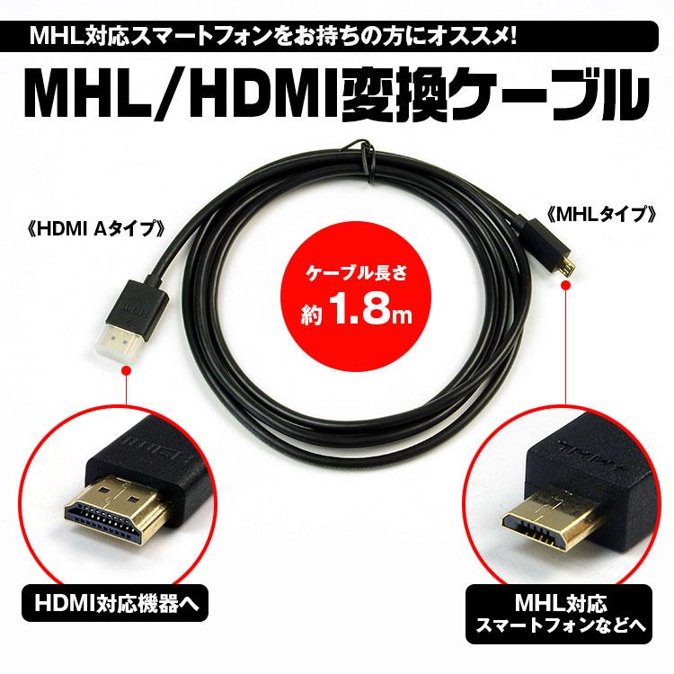 【メール便送料無料】1000円ポッキリ ケーブル MHL HDMI タイプA 1.8m スマートフォン スマホ モニター 送料無料