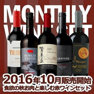 ワインセット うきうきマンスリーワインセット 10月は食欲の秋 お肉と楽しむ赤ワインセット 送料無料