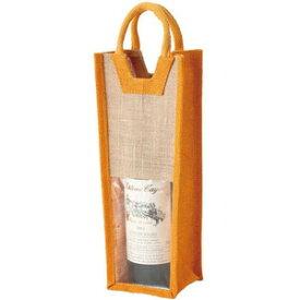 麻 ワインバッグ 窓付 1本用 オレンジ 10個セット ファンヴィーノ※お取り寄せ商品となりますため、お届けに1週間から2週間程度お時間をいただく場合がございます。