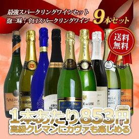 最強スパークリングワインセット 泡三昧!辛口スパークリングワイン9本セット 送料無料