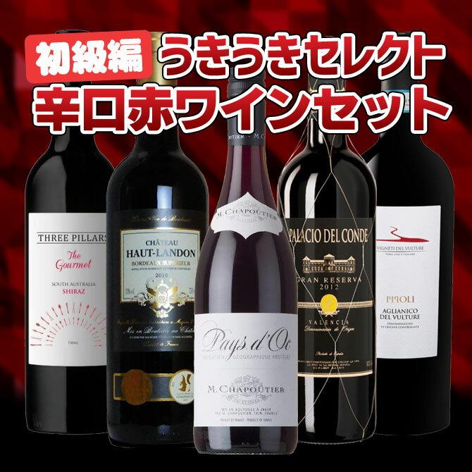 【送料無料】ワインセット 初級編 うきうきセレクト 辛口赤ワイン飲み比べセット